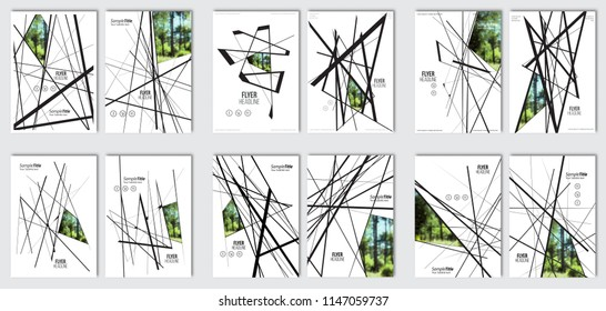 Irregular crossed lines arrangement set. Flyer layout template. Vector brochure background set with elements for magazine, cover, poster, layout design.