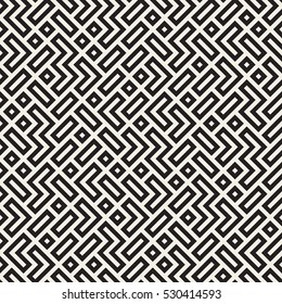 Irregular Maze Line. Abstract Geometric Background Design. Vector Seamless Black and White Pattern.