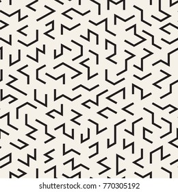 Irregular Tangled Lines. Abstract Geometric Background Design. Vector Seamless Black and White Chaotic Pattern.