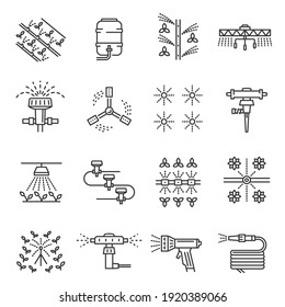 Irrigation farm equipment thin line icons set isolated on white. Sprinkler, plant watering system outline pictograms collection. Dripline, agricultural pipes vector elements for infographic, web.