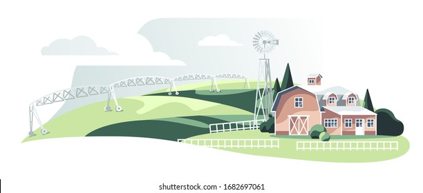 Irrigation field system near village house isolated white backgound
