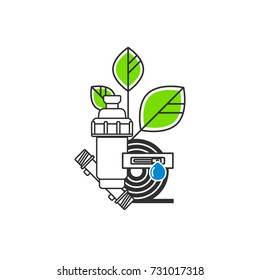 Irrigation Icon. Equipment for drip irrigation. A drip tape, a tube, a filter, a plant. Vector illustration.