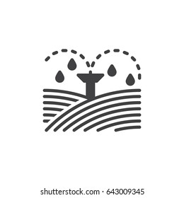 Irrigation sprinklers icon vector, filled flat sign, solid pictogram isolated on white. Symbol, logo illustration. Pixel perfect