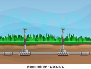Irrigation system concept banner. Cartoon illustration of irrigation system vector concept banner for web design