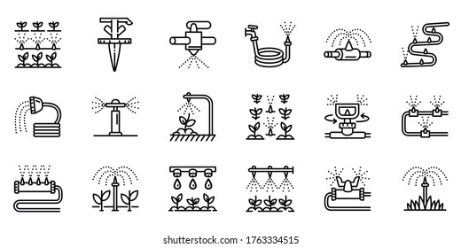 Irrigation system icons set. Outline set of irrigation system vector icons for web design isolated on white background