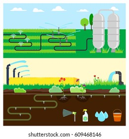 Irrigation Systems  infographic  banners set with Sprinklers Watering, Lawn irrigation and more. Vector.