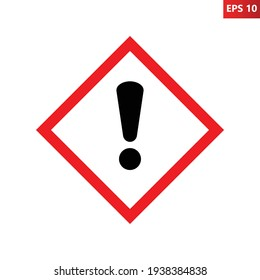 Irritant, sensitising, harmful substances sign. Illustration of red border square with exclamation mark inside. Caution icon vector design template isolated on white background. Attention. Danger zone