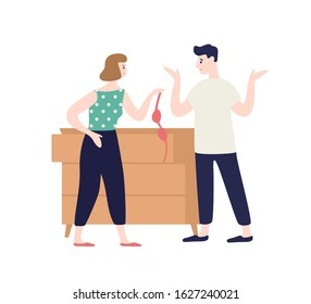 Irritated woman holding lingerie incriminating at treason of male vector flat illustration. Frustrated angry wife shouting to womanizer husband isolated on white. Love triangle concept
