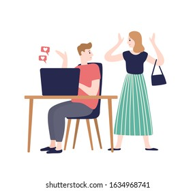 Irritating woman incriminating at treason of husband vector flat illustration. Male flirting chatting with another person at internet isolated on white. Love triangle and family conflict concept