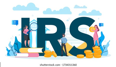 IRS typographic header concept.Financial bill, financial legislation compliance monitoring. Idea of accounting and payment. Data in the document and paperwork. Flat vector illustration