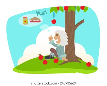 Isaac Applesauce - Cute Isaac Newton is sitting under an apple tree and getting ideas of applesauce and apple pie. Eps10