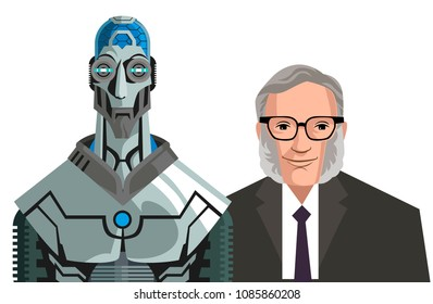 isaac asimov science fiction writer with fictional robot