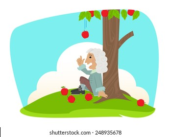 Isaac Newton - Cute Isaac Newton is sitting under an apple tree. Eps10