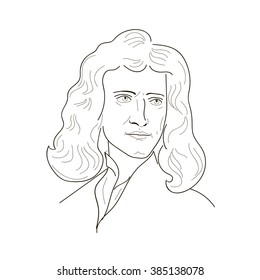 Isaac Newton, an English physicist and mathematician.Sketch illustration. Vector.