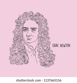 Isaac Newton Line Art Portait Hand Drawing