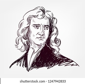 Isaac Newton vector sketch style portrait