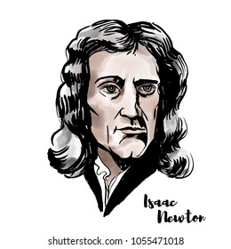 Isaac Newton watercolor vector portrait with ink contours. English mathematician, astronomer, theologian, author and physicist.