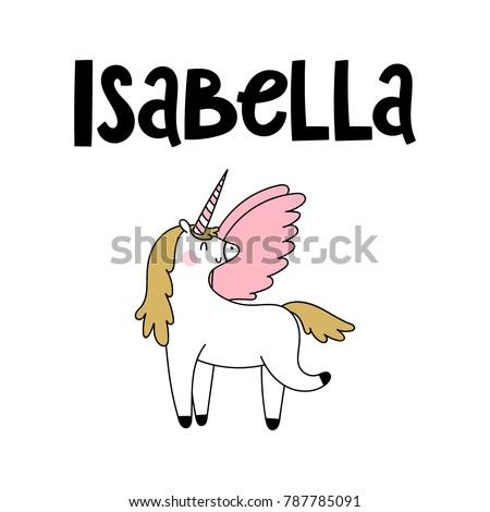 Isabella Female Name Cute Unicorn Stock Vector Royalty Free