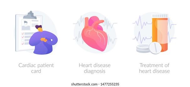 Ischemic heart disease. Heart care. Cardiovascular disease. Cardiac patient card, Heart disease diagnosis, Treatment of heart disease metaphors. Vector isolated concept metaphor illustrations