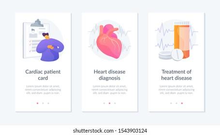 Ischemic heart disease. Heart care. Cardiovascular disease. Cardiac patient card, Heart disease diagnosis, Treatment of heart disease metaphors. Website web page template - concept metaphors.