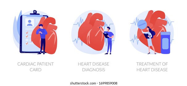 Ischemic heart disease. Heart care. Cardiovascular disease. Cardiac patient card, Heart attack diagnosis, Treatment of heart disease metaphors. Vector isolated concept metaphor illustrations