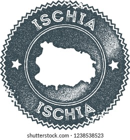 Ischia map vintage stamp. Retro style handmade label, badge or element for travel souvenirs. Dark blue rubber stamp with island map silhouette. Vector illustration.