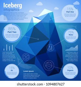 Iseberg floating in the deep water low-polygonal infographics   vector presentation template.