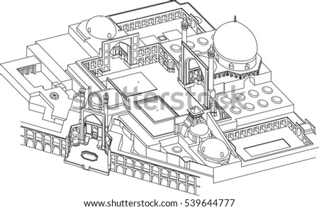 Isfahan Mosque Iran Site Plan Vector Stock Vector Royalty Free