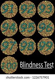 Ishihara Test daltonism color blindness disease perception test  number blindness test set