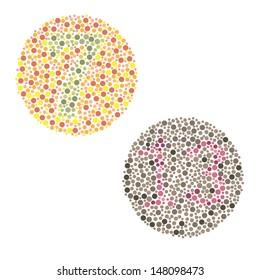 Ishihara Test. daltonism,color blindness disease. percepcion test