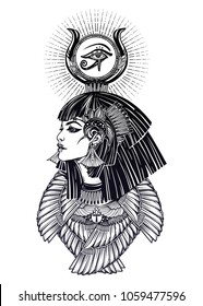 Isis diety. Portrait of a beautiful egyptian goddess or princess. Cleoptra or Nefertiti with winged necklace, god Ra crown on head. Spirituality, occultism, tattoo art. Isolated vector illustration.