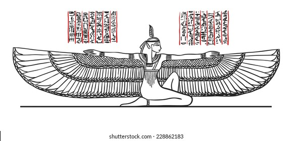 Isis Goddess of health, marriage, and love. Isis depicted with outstratched wings. Illustration black line isolated on white. Vector.