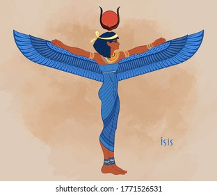 Isis, goddess of life and magic in Egyptian mythology.  One of the greatest goddesses of Ancient Egypt, protects women, children, heals sick. Vector illustration. Winged woman.