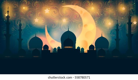 Islam, ramadan. Mosque silhouette in night sky with crescent moon and star