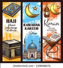 Islam religion Ramadan Kareem, muslim hajj to Mecca and arabic Koran book. Islamic Kaaba mosque, crescent moon and lantern, rosary beads and masjid sketches. Religious pilgrimage vector theme
