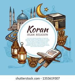 Islam religion symbols with muslim mosque and Koran islamic sacred book sketches. Ramadan holiday lantern, Kaaba masjid of Mecca and rosary beads, hamsa, moon and star. Religion vector theme