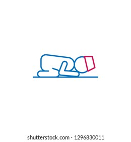 Islam, sujud posture 2 colored line icon. Simple blue and red element illustration. Islam, sujud posture concept outline symbol design from Islam set