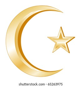 Islam Symbol.  Golden Crescent and Star, icon of Islam isolated on a white background. EPS8 compatible.