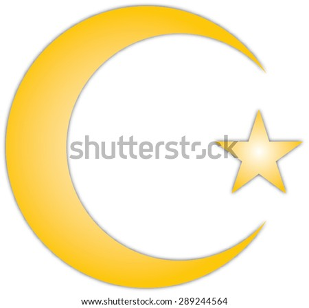 Islam Symbol Golden Crescent Star Symbol Stock Vector Royalty Free