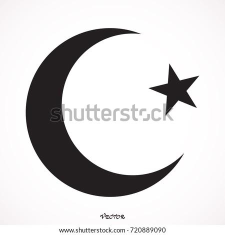 Islam Symbol Moon Star Icon Isolated Stock Vector Royalty Free