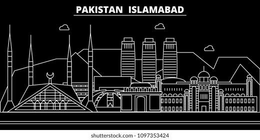 Islamabad silhouette skyline. Pakistan - Islamabad vector city, pakistani linear architecture, buildings. Islamabad travel illustration, outline landmarks. Pakistan flat icon, pakistani line banner