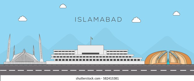Islamabad Skyline with Famous Landmarks. linear style vector illustration
