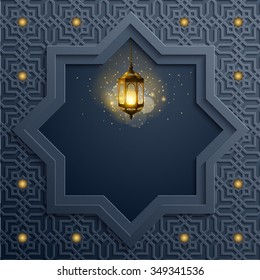 Islamic background arabic pattern and traditional lamp