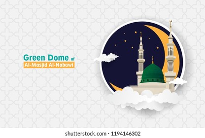 Islamic background with green dome of Nabawi Mosque in Madinah