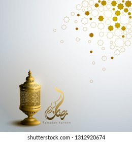 Islamic banner background Ramadan Kareem with gold arabic lantern and geometric pattern illustration - Translation of text : May Generosity Bless you during the holy month