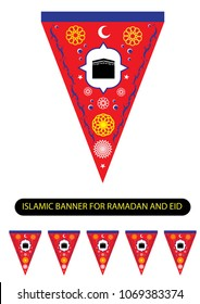 Islamic Banner in Red, Blue, Yellow and White for Ramadan and Eid Celebration Decor and motif for parties during the religious month. Editable Clip Art.