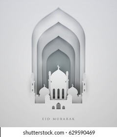 Islamic beautiful design template. Mosque on white  background in paper cut style. Ramadan kareem greeting card, banner, cover or poster. Vector illustration. EPS 10.