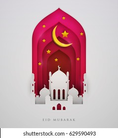 Islamic beautiful design template. Mosque  with moon and stars on white  background in paper cut style. Ramadan kareem greeting card, banner, cover or poster. Vector illustration. EPS 10.