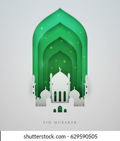 Islamic beautiful design template. Mosque  with green particles on white  background in paper cut style. Ramadan kareem greeting card, banner, cover or poster. Vector illustration. EPS 10.