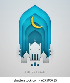 Islamic beautiful design template. Mosque  with yellow moon on white  background in paper cut style. Ramadan kareem greeting card, banner, cover or poster. Vector illustration. EPS 10.